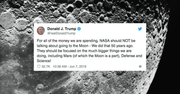 Trump gets mocked after tweeting that the Moon is part of Mars