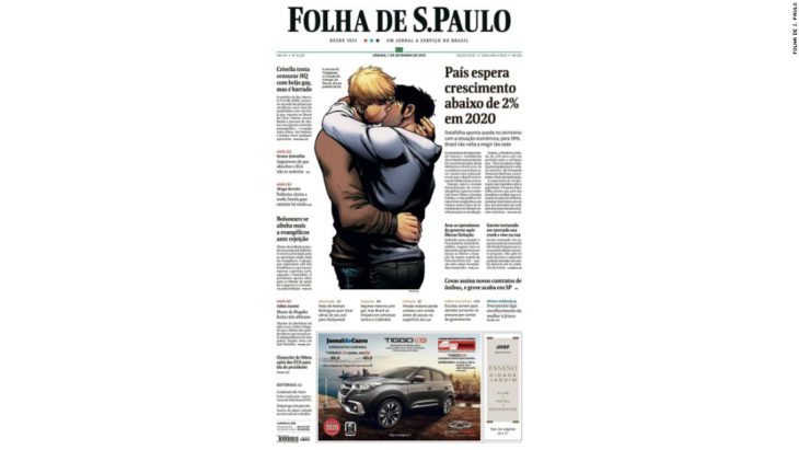 Censorship row makes superheroes' gay kiss front page news in Brazil