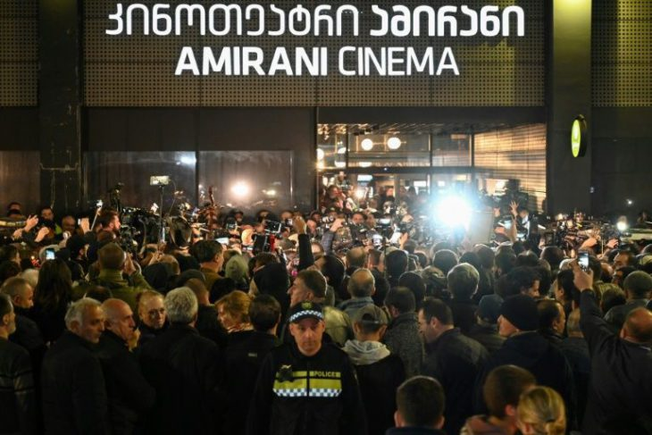 Georgia far-right protest at gay film premiere…