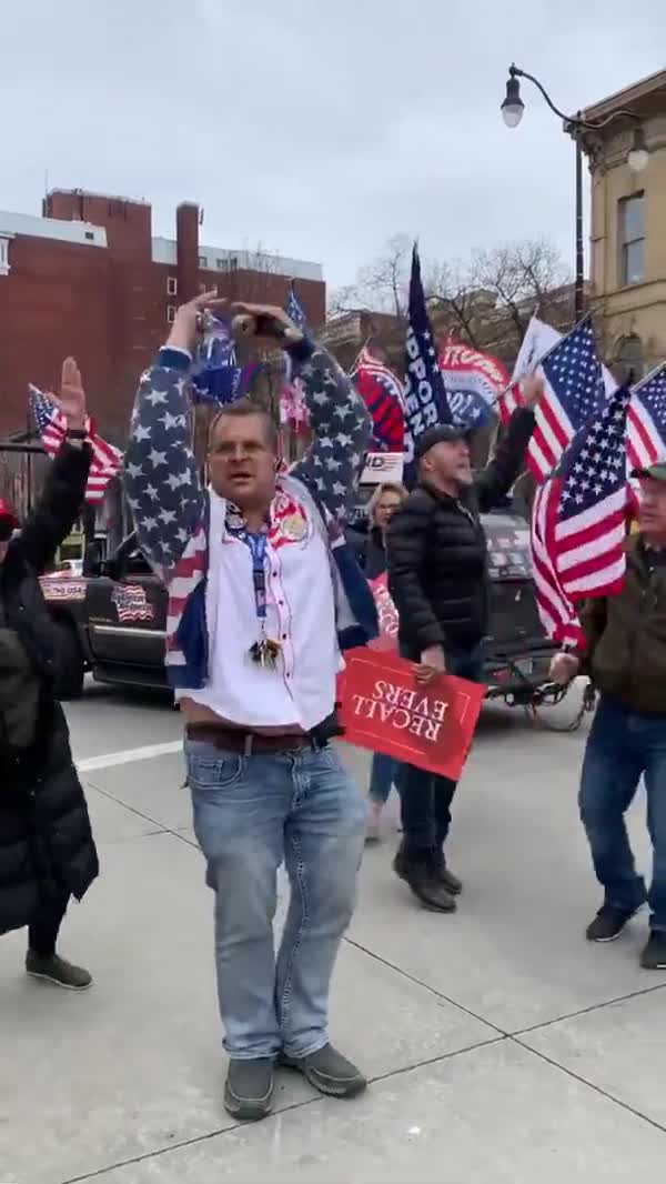 MAGA Heads Dance Their Love For Trump At Wisconsin Protest