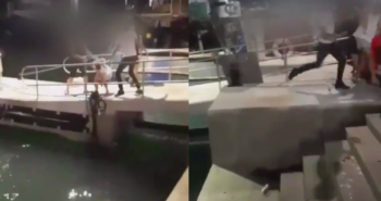 Hundreds of people stand by and watch as young gay Arab couple is spat on and beaten mercilessly in horrific homophobic attack